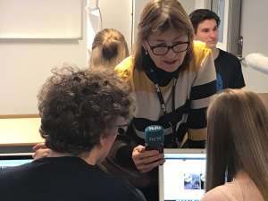 The Norwegian national radio interviewing the students about fake news.