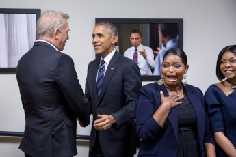 """""""That face when the President drops by for a visit,"""" the White House captioned the pic on its Instagram page."""