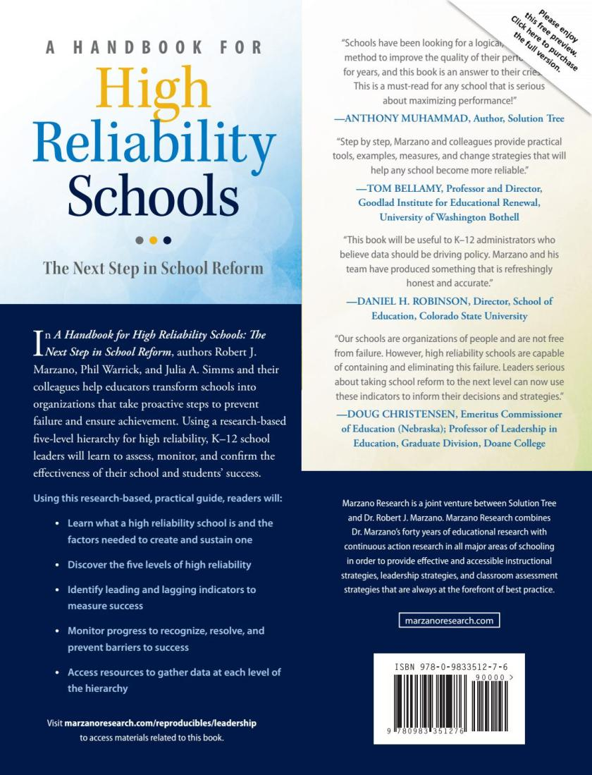 a handbook for high reliability schools the next step in school reform